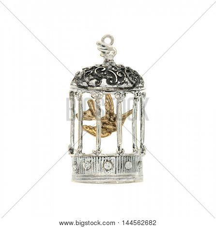 birdcage pendant isolated white