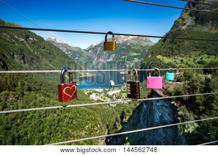 Geiranger fjord Lookout observation deck view point, Beautiful Nature Norway. It is a 15-kilometre (9.3 mi) long branch off of the Sunnylvsfjorden, which is a branch off of the Storfjorden.