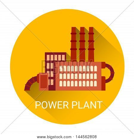 Power Plant Icon Colorful Flat Vector Illustration