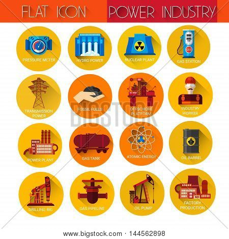 Power Industry Collection Icon Set Flat Vector Illustration