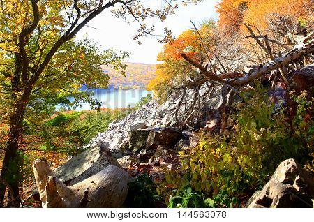 Autumn colors along hiking trail at Devil's Lake State Park,  Wisconsin