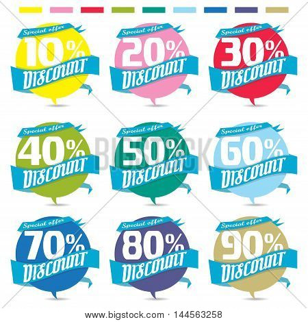 Percent discount sign icon.Sale symbol business badge Special offer label.Paper ribbon vector illustration