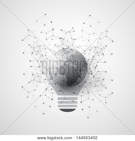 Abstract Cloud Computing and Global Network Connections Concept Design with Earth Globe, Light Bulb, Transparent Geometric Mesh - Illustration in Editable Vector Format