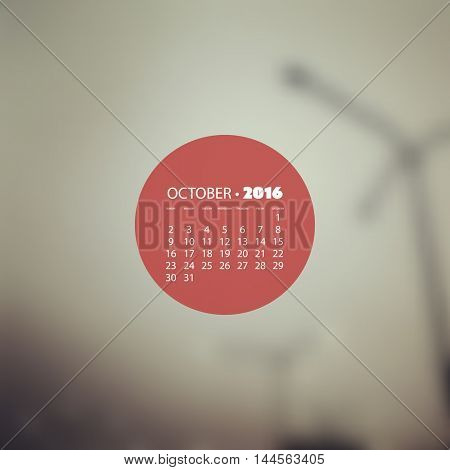 Monthly Calendar 2016, October - Vector Illustration Design