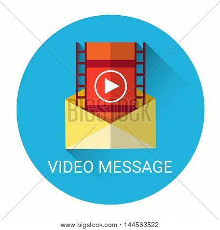 Video Message Mail Icon Flat Vector Illustration