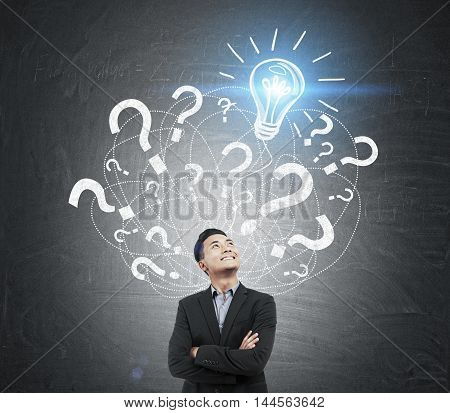 Asian Businessman And Question Mark And Light Bulb Sketch