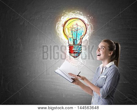 Girl In Striped Shirt With Book And Lightbulb Sketch