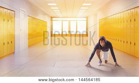 Jogger in hoodie and short in school corridor. Concept of physical education and fitness. 3d rendering. Toned image