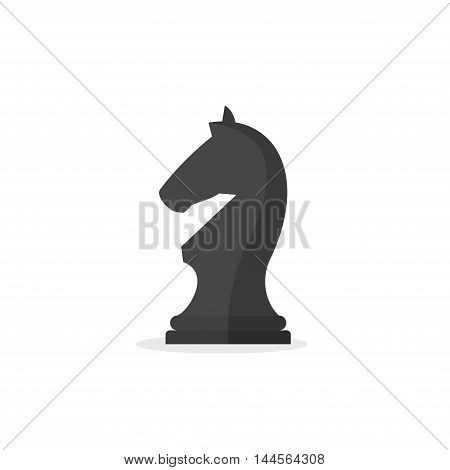 Chess piece knight icon isolated on white background. Black chess horse in flat style