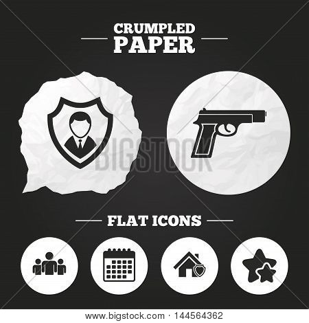 Crumpled paper speech bubble. Security agency icons. Home shield protection symbols. Gun weapon sign. Group of people or Share. Paper button. Vector