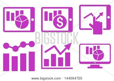 Sales Charts vector icons. Pictogram style is violet flat icons with rounded angles on a white background.