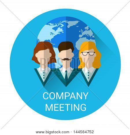 Company International Meeting Business Icon Flat Vector Illustration