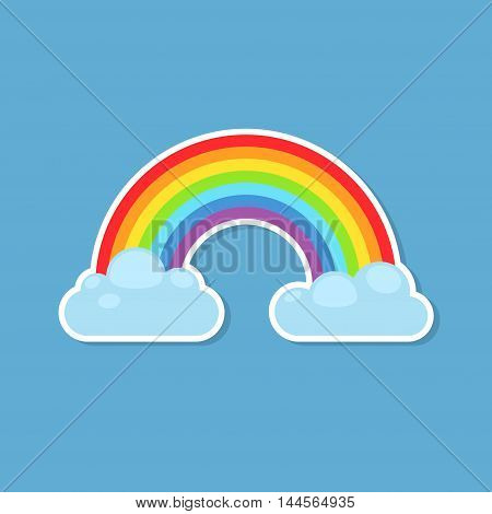 Rainbow and clouds sticker icon isolated on blue background. Nature sign cloud rainbow spectrum. Weather curve rainbow icon, graphic abstract symbol.