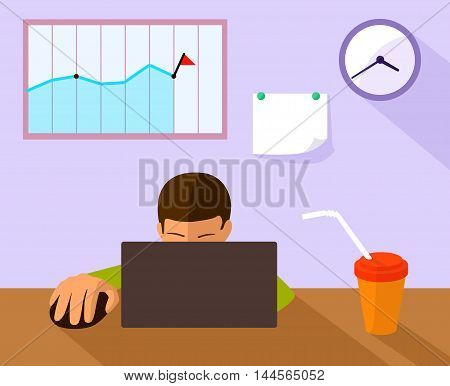 office working place in flat style, vector illustration