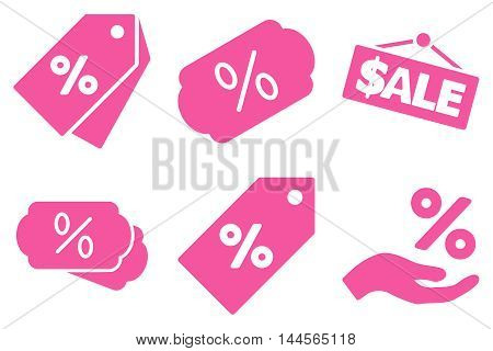 Discount Percent vector icons. Pictogram style is pink flat icons with rounded angles on a white background.