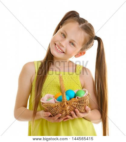 Cute girl with Easter eggs, isolated on white