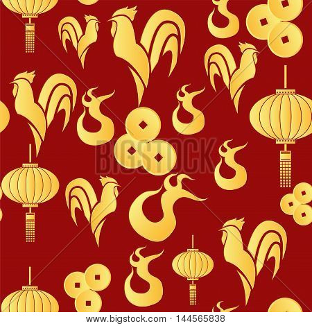 A vector illustration of year of rooster design for Chinese New Year celebration. pattern with Gold Chicken and fire