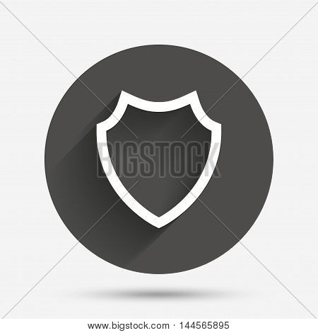 Shield sign icon. Protection symbol. Circle flat button with shadow. Vector