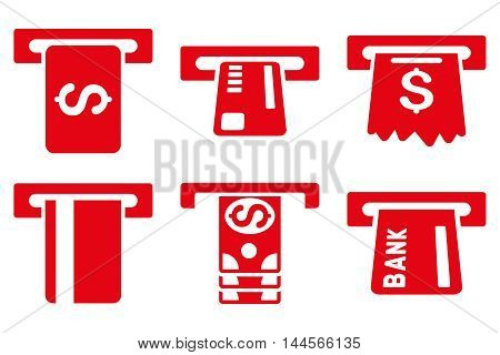 Pay Box vector icons. Pictogram style is red flat icons with rounded angles on a white background.