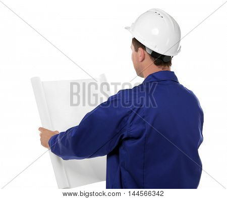 Construction worker with blueprint, isolated on white