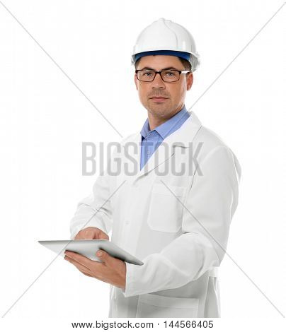 Construction worker with tablet, isolated on white