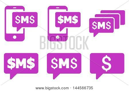 SMS Messages vector icons. Pictogram style is violet flat icons with rounded angles on a white background.