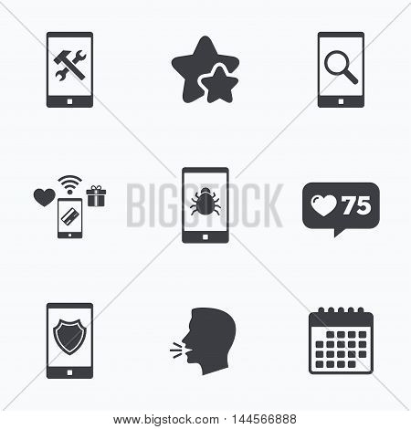 Smartphone icons. Shield protection, repair, software bug signs. Search in phone. Hammer with wrench service symbol. Flat talking head, calendar icons. Stars, like counter icons. Vector