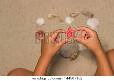Child holds starfish. Child hands with starfish. Sea shells on sandy beach. Summer background. Top view