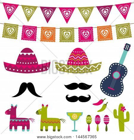 Mexican party decoration and photo booth props vector set