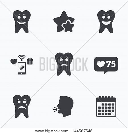 Tooth smile face icons. Happy, sad, cry signs. Happy smiley chat symbol. Sadness depression and crying signs. Flat talking head, calendar icons. Stars, like counter icons. Vector