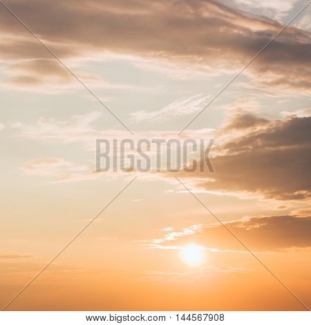 Sunset, Sunrise With Clouds. Yellow Warm Sky Background With Gently Colors