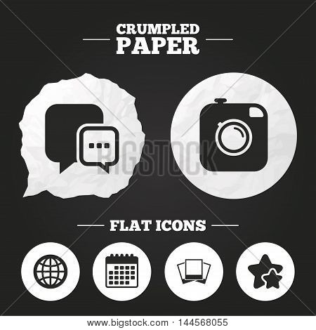 Crumpled paper speech bubble. Social media icons. Chat speech bubble and world globe symbols. Hipster photo camera sign. Photo frames. Paper button. Vector