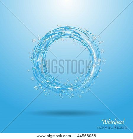 Water circle. Whirlpool realistic water droplets Vector illustration