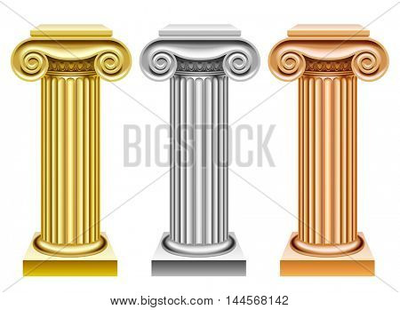 Gold, silver and bronze ancient columns isolated on white. Classic award symbols. 3D illustration