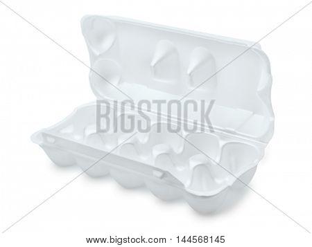 Open foam egg box isolated on white