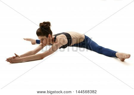 Yoga instructor during training session. Isolated on white background