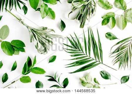 pattern with flowers branches leaves and petals isolated on white background. flat lay overhead view