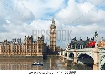 Big Ben and Houses of Parliament in London UK