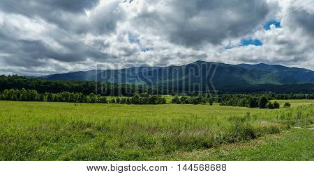 Panoramic view from Cades Cove in Great Smoky Mountains National Park, Tennessee