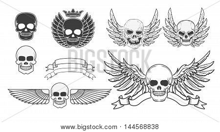 Set of the winged skulls. Design element for t-shirt print poster sticker. Vector illustration.