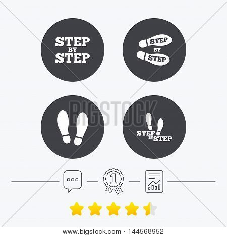 Step by step icons. Footprint shoes symbols. Instruction guide concept. Chat, award medal and report linear icons. Star vote ranking. Vector