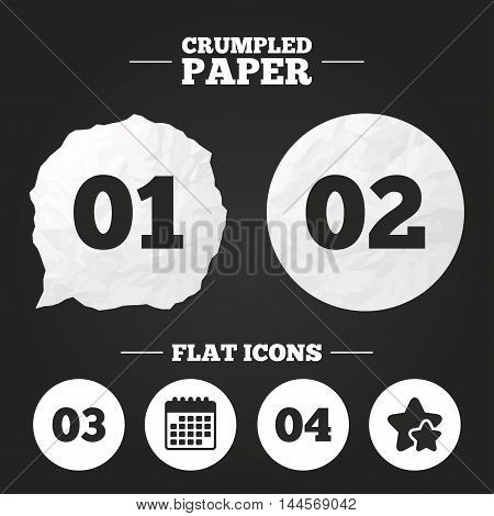 Crumpled paper speech bubble. Step one, two, three and four icons. Sequence of options symbols. Loading process signs. Paper button. Vector