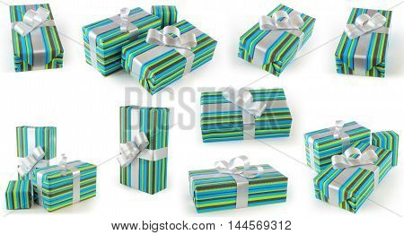 Gifts with green and blue gift paper and silver ribbon set at different angles