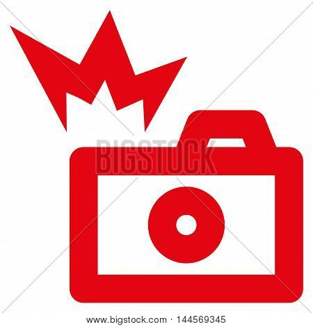 Camera Flash vector icon. Style is contour flat icon symbol, red color, white background.