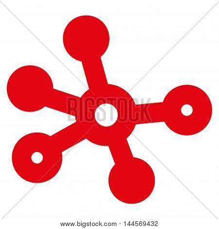 Connections vector icon. Style is linear flat icon symbol, red color, white background.