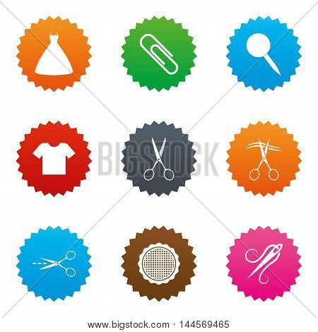 Tailor, sewing and embroidery icons. Scissors, safety pin and needle signs. Shirt and dress symbols. Stars label button with flat icons. Vector