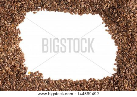 Raw Brown Linseed frame in white background