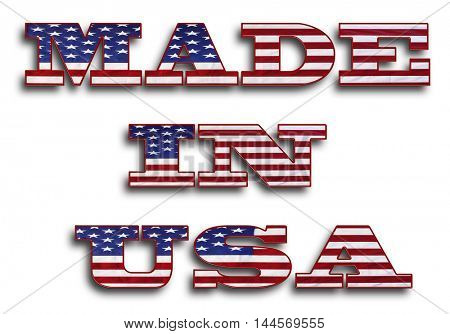 Made in USA wording on white