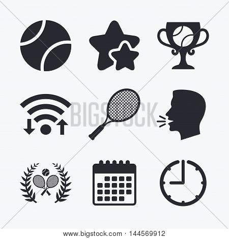 Tennis ball and rackets icons. Winner cup sign. Sport laurel wreath winner award symbol. Wifi internet, favorite stars, calendar and clock. Talking head. Vector
