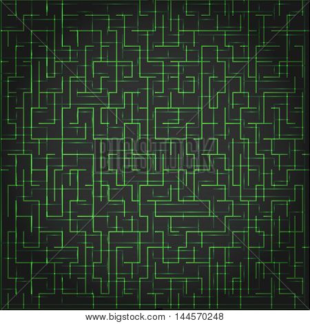 Abstract vector technology background. With green lines on black. Digital maze concept